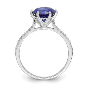 Sterling Silver Rhodium-plated Blue and White CZ Ring