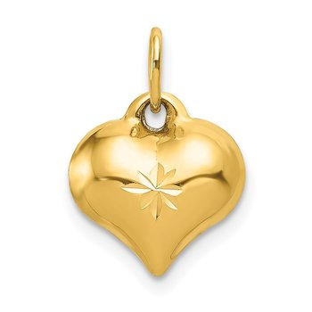 14K Polished 3-D Diamond-cut Puffed Heart Charm