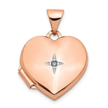 14k Rose Gold Diamond Polished 15mm Heart Locket