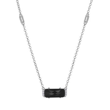 Solitaire Emerald Cut Gem Necklace with Black Onyx