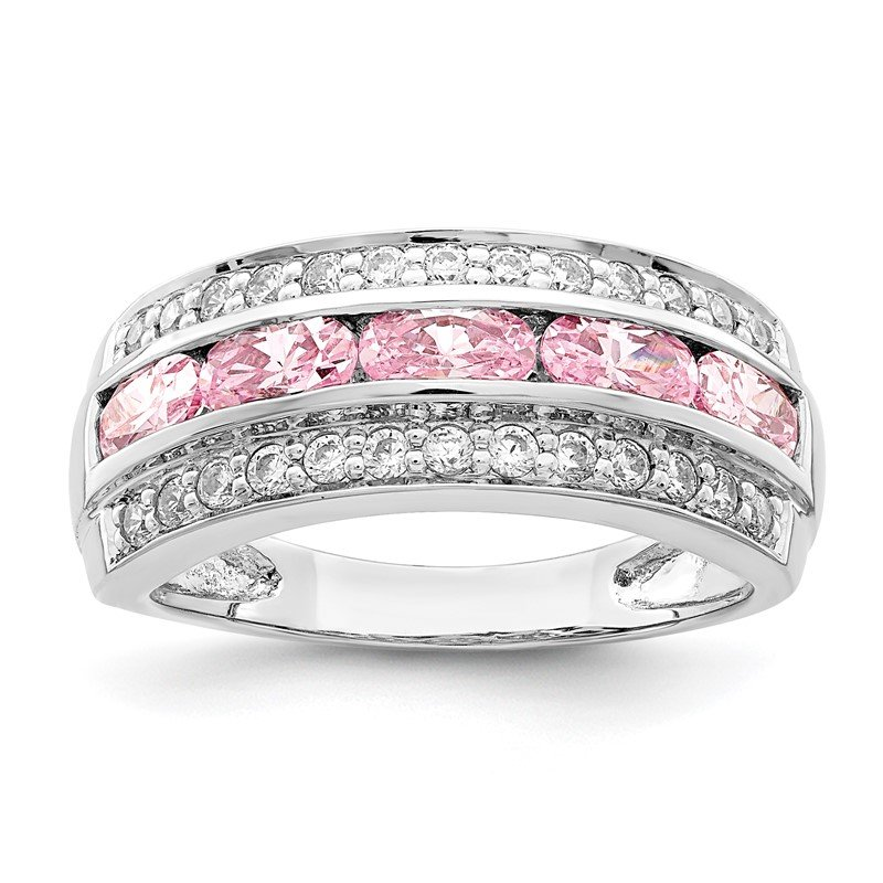 Arizona Diamond Center Collection Sterling Silver Rhodium-plated 3-row Pink & White CZ Ring