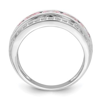 Sterling Silver Rhodium-plated 3-row Pink & White CZ Ring