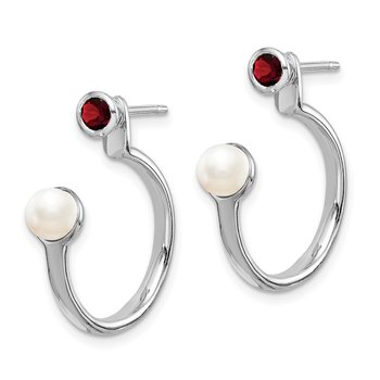 Sterling Silver Rhodium-plated FWC Pearl & Garnet Front & Back Post Earring