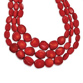 Sterling Silver Red Coral w/2in ext Triple Strand Necklace