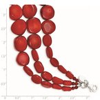 Quality Gold Sterling Silver Red Coral w/2in ext Triple Strand Necklace