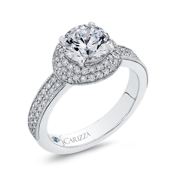 Round Cut Diamond Engagement Ring In 18K White Gold (Semi-Mount)