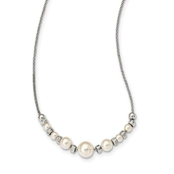 Sterling Silver Diamond-cut Beads w/Swarovski Pearl w/ 2in ext. Necklace