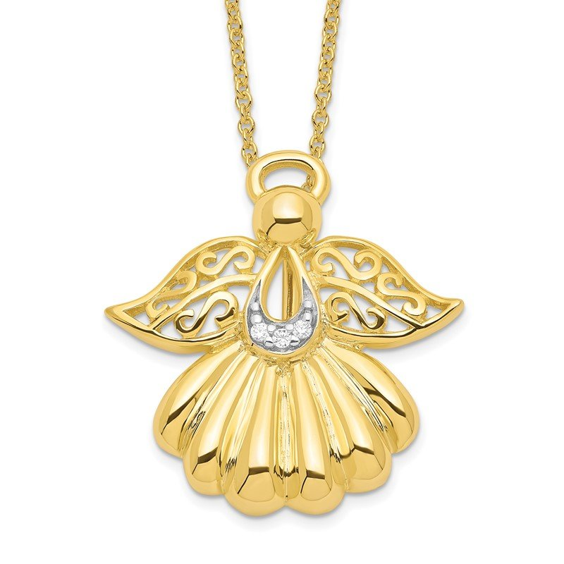 Quality Gold Sterling Silver & Gold-plated CZ Angel of Remembrance 18in Necklace