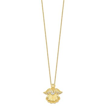 Sterling Silver & Gold-plated CZ Angel of Remembrance 18in Necklace