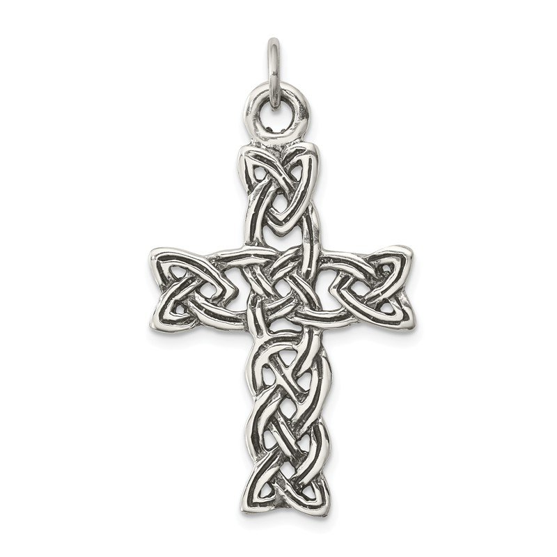 Quality Gold Sterling Silver Antiqued Celtic Cross Pendant