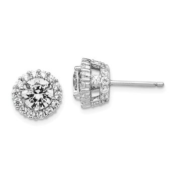 Cheryl M Sterling Silver Rhodium-plated CZ Round Post Earrings