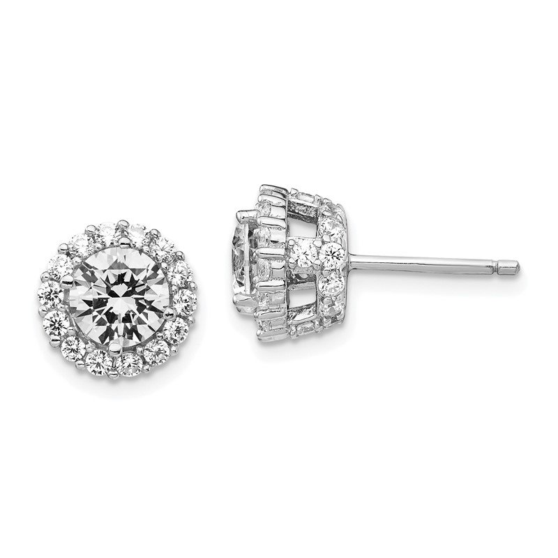 Cheryl M Cheryl M Sterling Silver Rhodium-plated CZ Round Post Earrings
