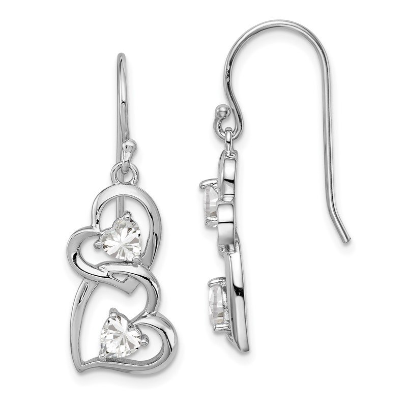Quality Gold Sterling Silver RH-plated CZ Heart Dangle Shepherd Hook Earrings