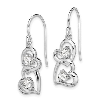Sterling Silver RH-plated CZ Heart Dangle Shepherd Hook Earrings