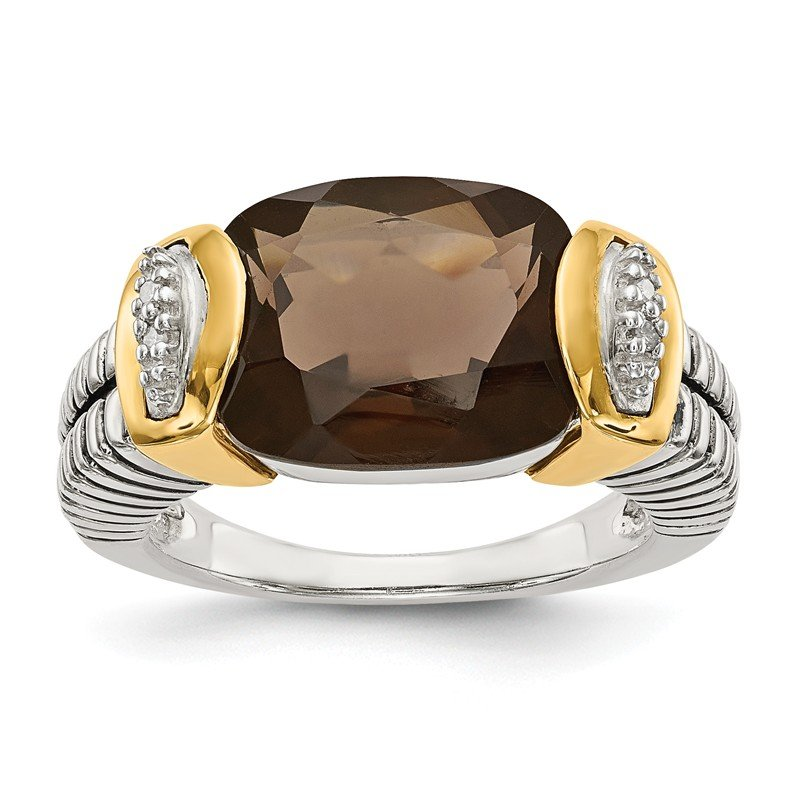 Shey Couture Sterling Silver w/14k Smoky Quartz & Diamond Ring
