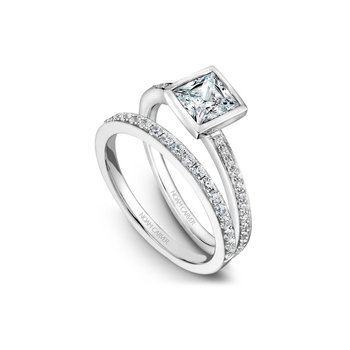 Bezel Set Princess Cut Side-Stone Solitaire Engagement Ring
