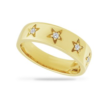 14K starfish design band with 4 diamonds 0.08CT, 5 MM WIDE