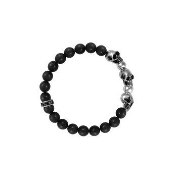 8Mm Onyx Bead Bracelet W/ 3 Skulls And 2 Silver Beads
