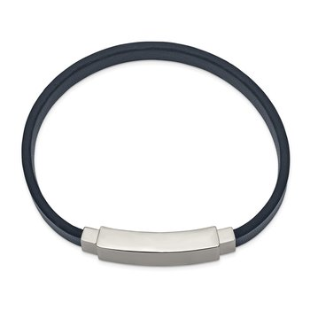 Stainless Steel Polished Navy Blue Leather 8.5in ID Bracelet