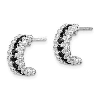 Sterling Silver Rhodium-plated Black CZ C-Hoop Earrings