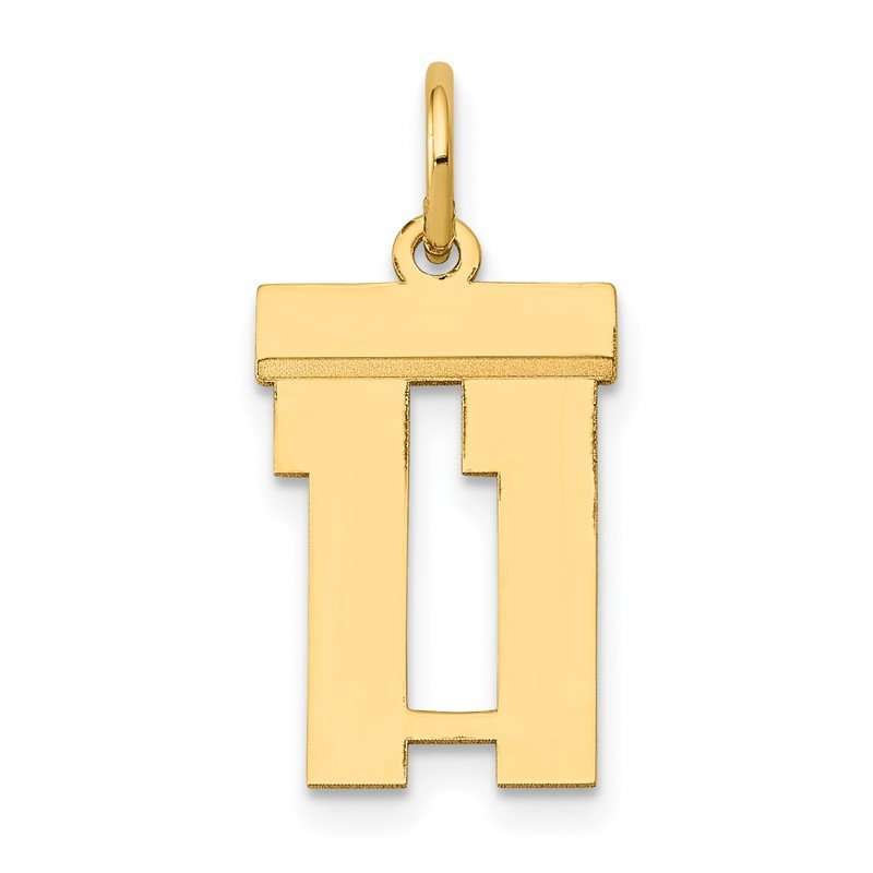 Quality Gold 14k Small Polished Number 11 Charm