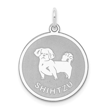 Sterling Silver Rhodium-plated Shih Tzu Disc Charm