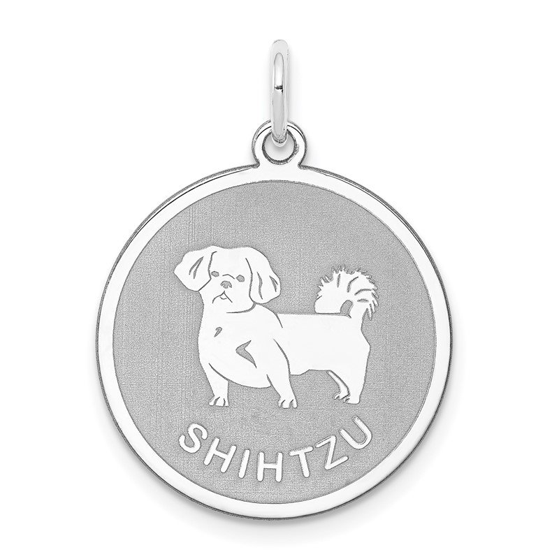 Quality Gold Sterling Silver Rhodium-plated Shih Tzu Disc Charm