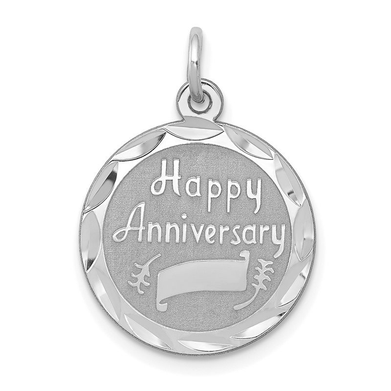 Quality Gold Sterling Silver Rhodium-plated Happy Anniversary Disc Charm