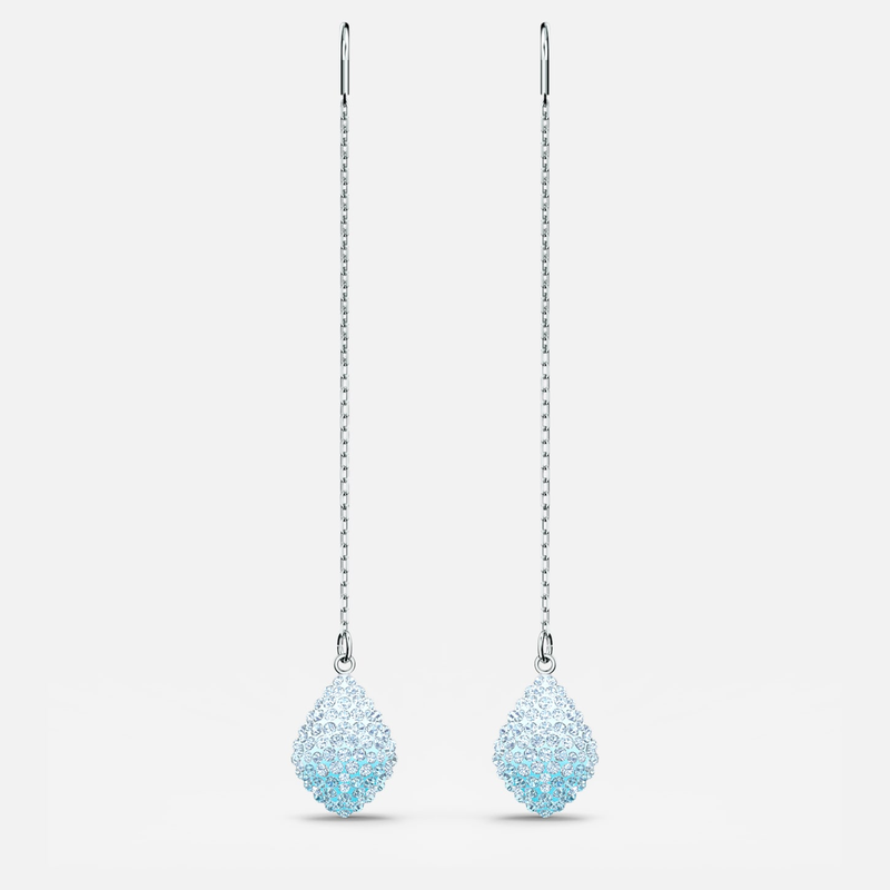 Swarovski Fun Pierced Earrings, Aqua, Rhodium plated