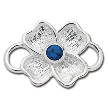 Sterling Silver Dogwood September Birthstone