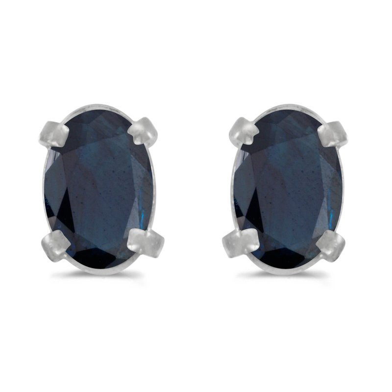 Color Merchants 14k White Gold Oval Sapphire Earrings
