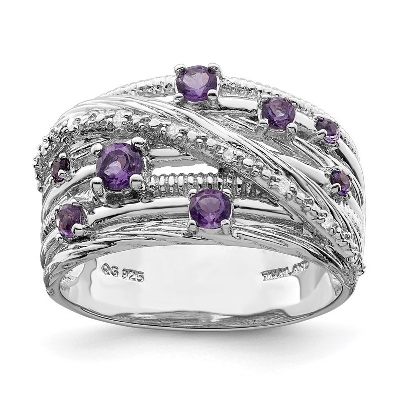 Quality Gold Sterling Silver Polished Amethyst and Diamond Ring