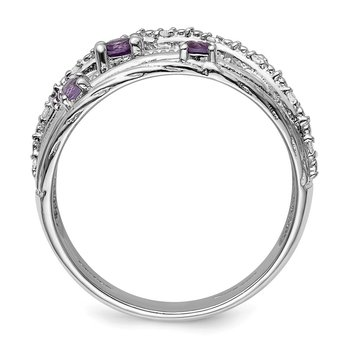 Sterling Silver Polished Amethyst and Diamond Ring