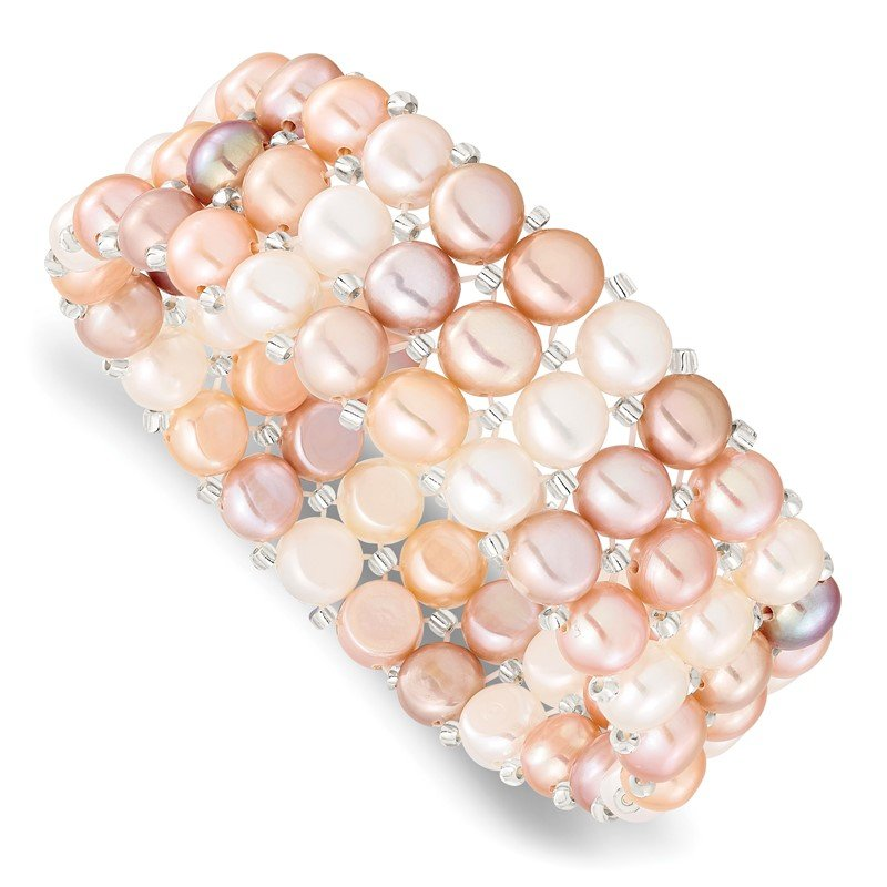Arizona Diamond Center Collection 6-7mm Button FWC Pearl & Glass Beaded 3-row Stretch Bracelet