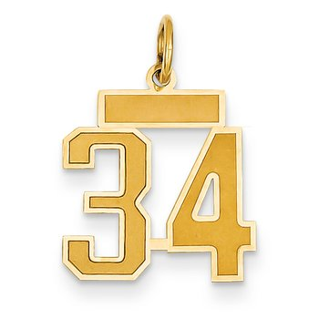 14k Small Satin Number 34 Charm
