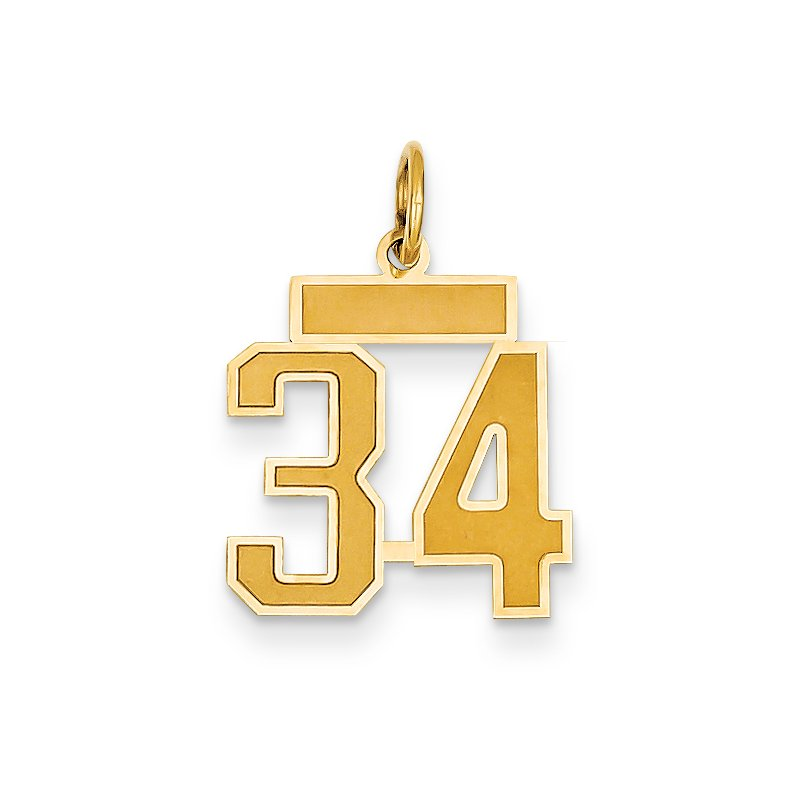 Quality Gold 14k Small Satin Number 34 Charm