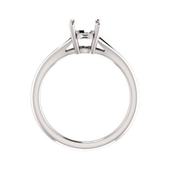 18K White 7 mm Round Engagement Ring Mounting