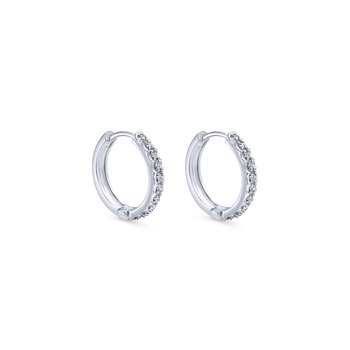 14K White Gold 10mm Round Diamond Huggie Earrings