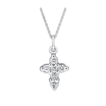 Diamond Cross Necklace in 14K White Gold with 6 Diamonds Weighing .18 ct tw