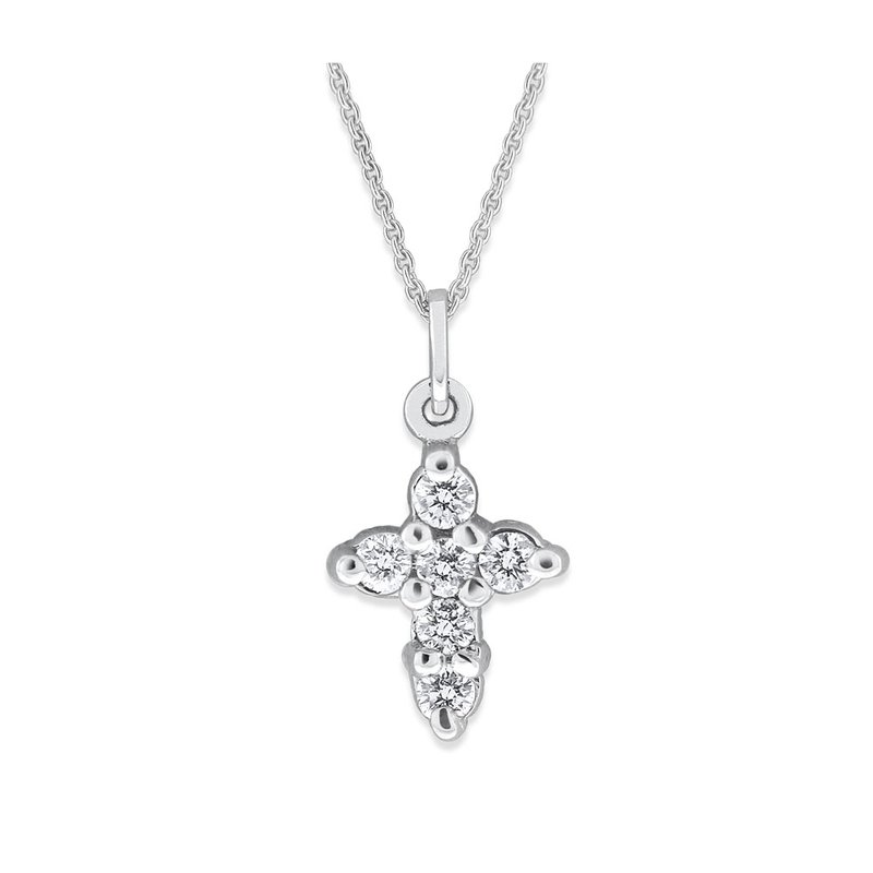 KC Designs Diamond Cross Necklace in 14K White Gold with 6 Diamonds Weighing .18 ct tw