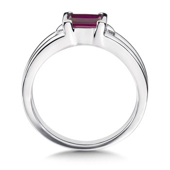 Sterling Silver and Created Ruby Ring