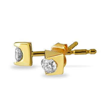 "14K YG Diamond ""Forever"" Solitaire Earring"