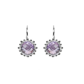 Dew Drop Snowflake Earrings - Amethyst & Silver