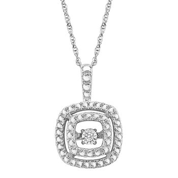 SILVER 0.01CTW SQUARE DBL HALO HEARTBEAT WITH MP PENDANT