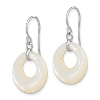 Sterling Silver Rhodium-plated Mother of Pearl Earrings