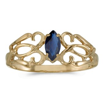 14k Yellow Gold Marquise Sapphire Filagree Ring