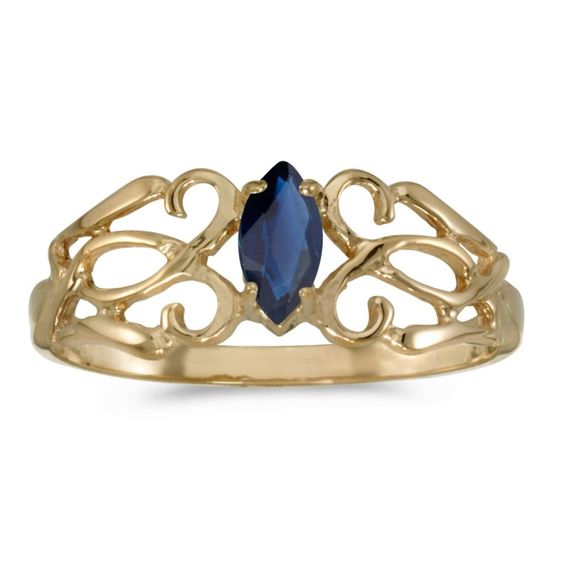 Color Merchants 14k Yellow Gold Marquise Sapphire Filagree Ring