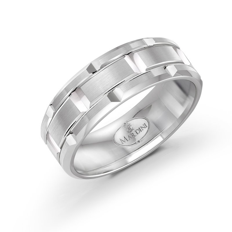 Mardini 8mm all white gold brick motif band