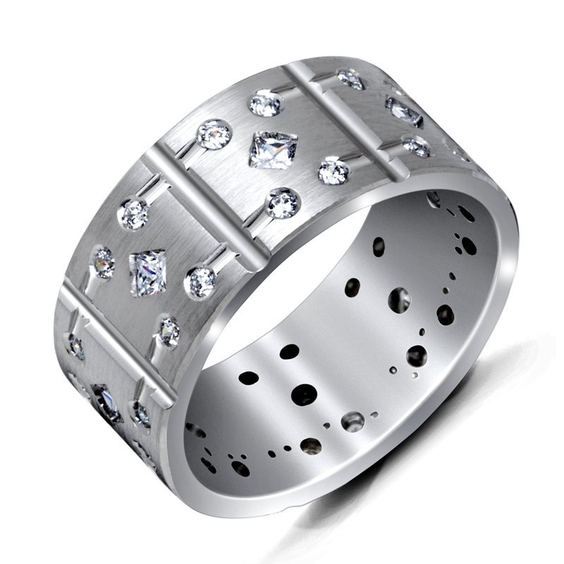 Mardini 9mm all white gold shoe lace motif band, embelished with 8X0.05CT princess and 32X0.01CT diamonds