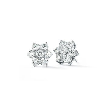 Platinum Diamond Flower Earrings